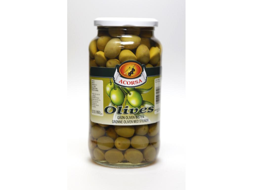 RESTSALG Oliven grøn m/sten á 950 g.
