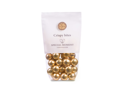 Drageret hvedekugler m/lys chokolade og guld 110 gr - Bestillingsvare