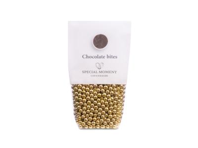 Drageret mini kugler lys chokolade i guld 130 gr - Bestillingsvare