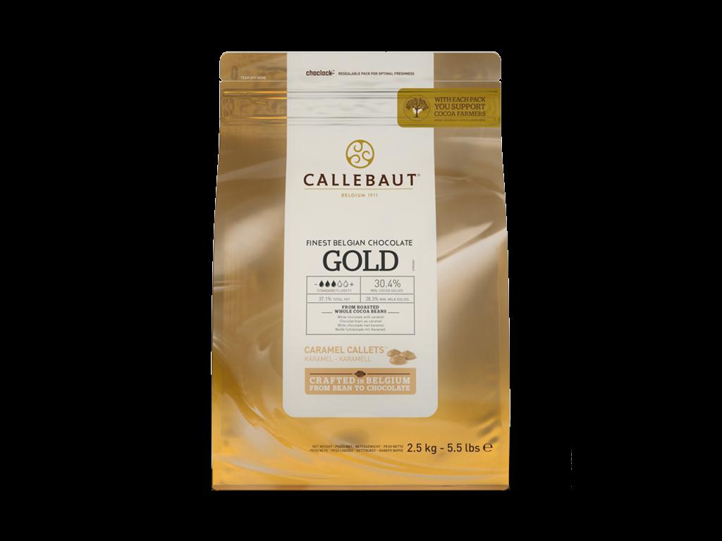 Hvid Chokolade Karamel perler Gold  30,4% á 2,5 kg