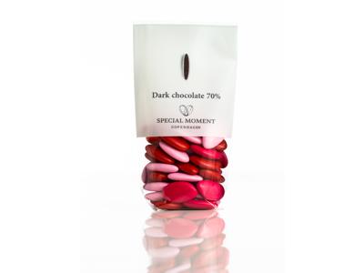 Drageret mørk chokolade 70% mandelformet rødmix 130 gr - Bestillingsvare