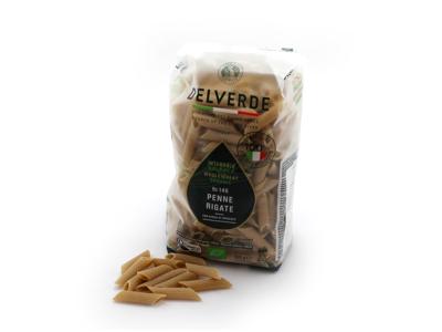 Økologisk fuldkorns Delverde Penne rigate pasta 500 g
