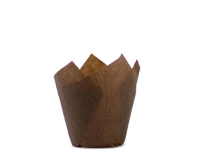 Muffinskapsel Blomst brun 35x35/55mm
