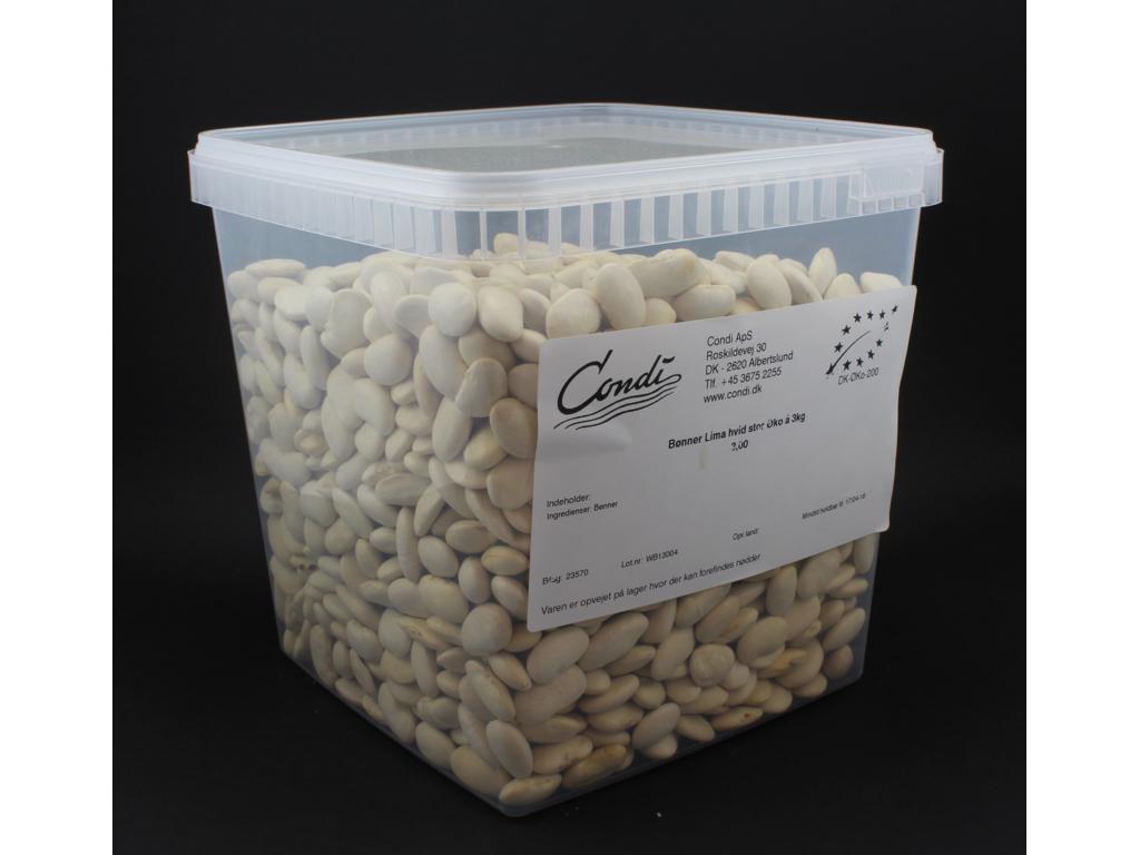 Limabønner hvid stor Øko 3kg