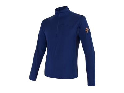 Sensor Merino Extreme  - T-shirt m. lange ærmer - Lynlås i hals - Herre - Blå