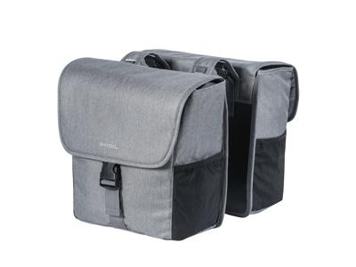 Basil Go Double Bag - Cykeltasker til bag - 32 liter - Grey melee