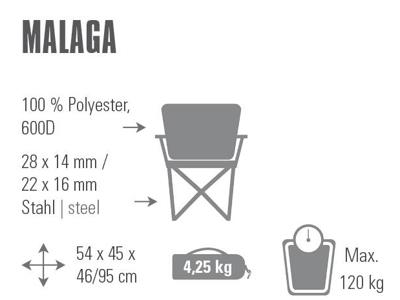High Peak Malaga - Campingstol - Sammenleggbar - Grå