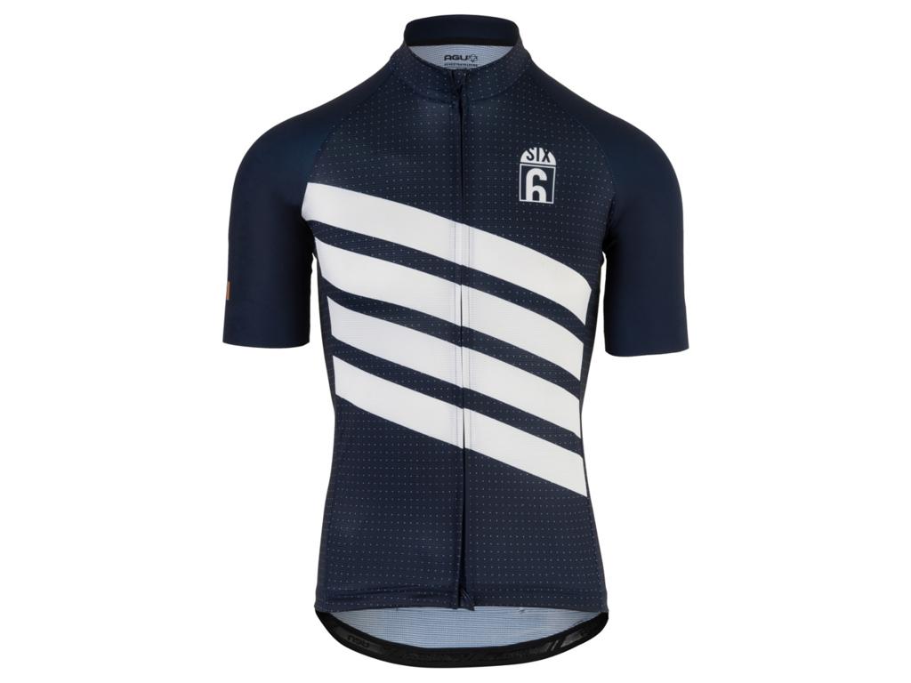 AGU - Klassisk - Kortärmad cykeltröja - blå / vit - storlek M