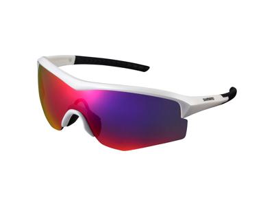 Shimano Cykelbriller - Spark - Smoke røde linser - Metallic Hvid