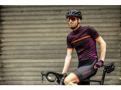 Rogelli Stripe - Cykelhandske - Dynaflex - Bordeaux/Rød