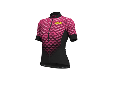 Alé Solid Hexa - Cykeltrøje m. korte ærmer - Dame - Sort/Fluo Pink