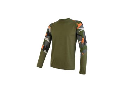 Sensor Merino Impress - Merino Uld T-shirt med lange ærmer - Herre - Safari/Camo