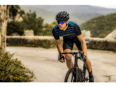 Rogelli Stripe - Cykelhandske - Dynaflex - Blå/Orange
