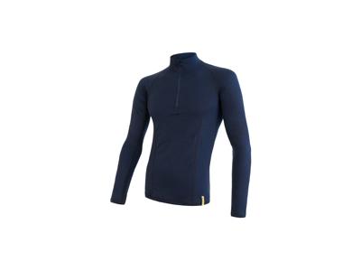 Sensor Merino Double Face - T-shirt med långa ärmar - Dragkedja i nacken - Herrar - Blå