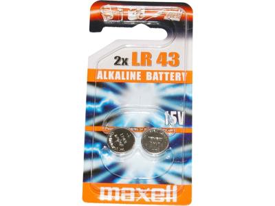 Maxell - Batteri - LR43 Alkaline 1,5v - 2 stk