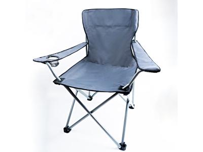 Lome Oxford Campingstol med kopphållare Vikbar Stålrör Grå