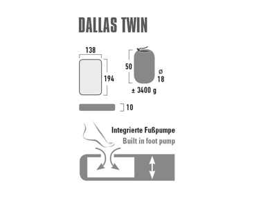 High Peak Dallas Twin - Luftmadras med integreret fodpumpe - 194 x 138 x 10 cm