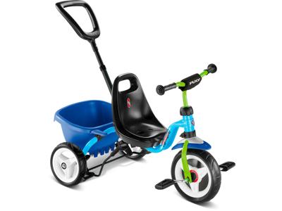 Puky Cat 1 S - Tricykel - Trehjulet med lad og skubbestang - Blå/grøn