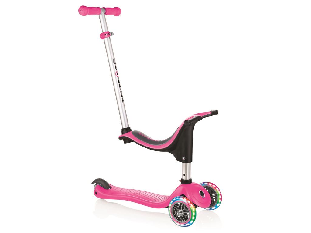 Globber Go-Up Sporty Lights - 4 i 1 Løbehjul til børn - Pink