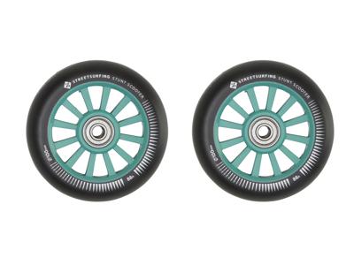Streetsurfing - Nylon core hjul til løbehjul - 2 stk - 100mm - Grøn/Sort