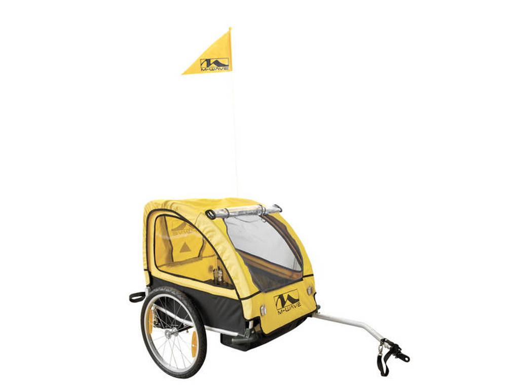 Køb M-Wave Stalwart Kid 2 – Cykeltrailer – Foldbar – Affjedret aluminiumsstel – 2 sæder – EN15