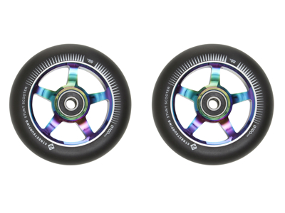 Streetsurfing - Aluminiums hjul til løbehjul - 2 stk - 100mm - Chrome