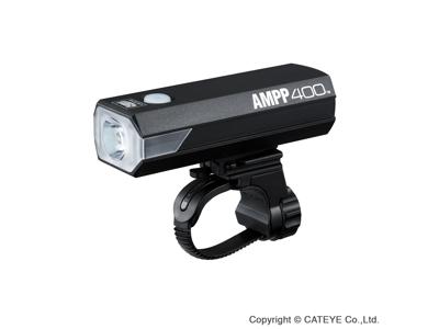 Cateye AMPP Forlygte - 400 lumen - USB Opladelig - Sort