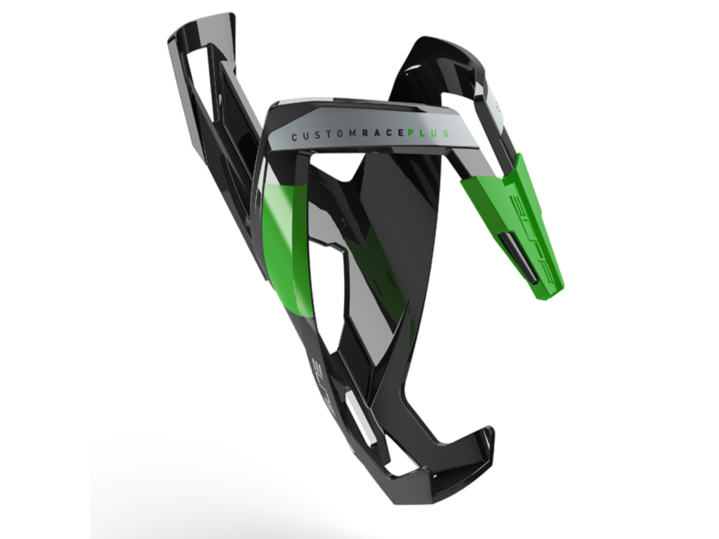 Image of   Elite Custom Race+ - Flaskeholder - Sort Glossy Green Graphic