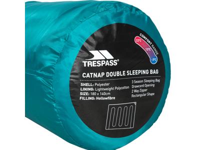 Trespass Catnap dobbeltsovepose - 3 sæsoner - 180 x 140 cm - Jade