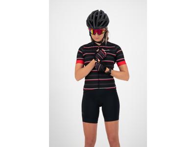 Rogelli Stripe - Cykelhandske - Dame- Gel pude - Sort/Rød