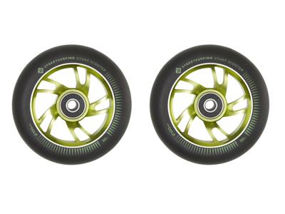 Streetsurfing - Aluminiums hjul til løbehjul - 2 stk - 100mm - Grøn