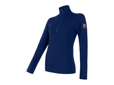 Sensor Merino Extreme - T-shirt m. lange ærmer - Lynlås i hals - Dame - Blå