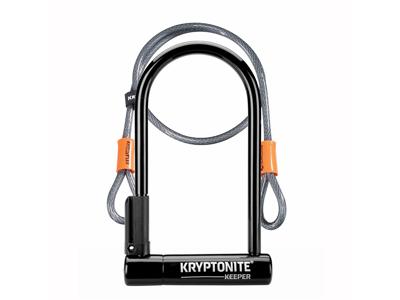 Kryptonite Keeper - Bøjlelås U-Lock 12 Std. - 10,2 x 20,3cm - Med Flex wire - Sort