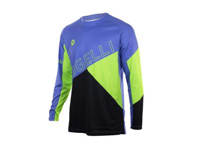 Rogelli Adventure - Cykeltrøje MTB - Lange ærmer - Blå/Sort/Grøn