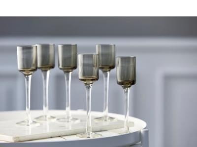 Lyngby Glas Snapseglas på fod 6 stk, grå i ens former