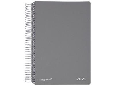 Spiralkalender, uge, tværformat, hård PP-plast, grå, FSC Mix