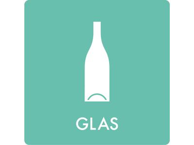 Affaldsskilt GLAS 12x12cm