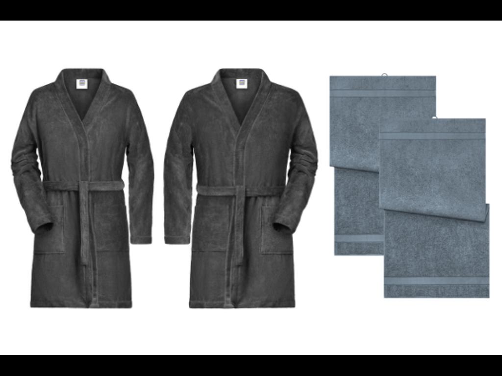 Øko bade pakke 2: Grå dame og herre badekåbe med grå håndklæ