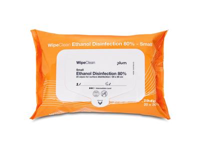 Desinfektionsservietter til overflader Plum 80% sprit 20x30c