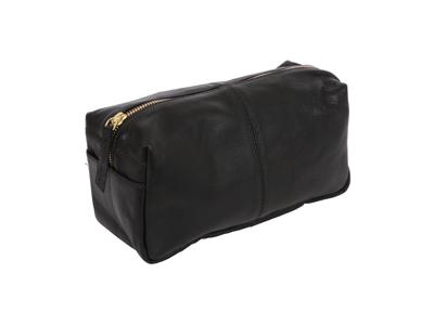 Toilet Bag Med Black Leather