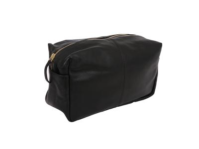Toilet Bag Lrg Black Leather