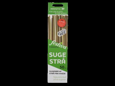 Maistic sugerør sugestrå af hvedestrå 50 stk. komposterbar