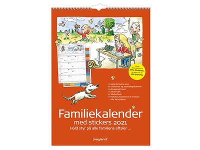 Familiekalender med stickers, illu. af Otto Dickmeiss, 6 kol