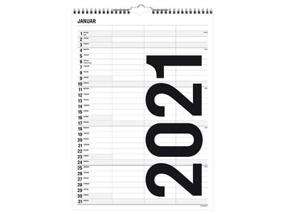 Familiekalender, Black and white, 3 kolonner, FSC Mix