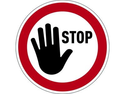 Påbudsskilt Stop Ø43 mm rød