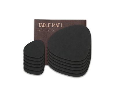 Dækkeservietter med matchende glasbrikker (6 stk. af hver) -