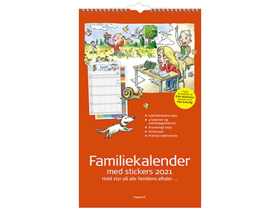 Familiekalender med stickers, illu. af Otto Dickmeiss, 4 kol