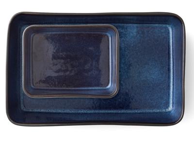 Bitz ovnfastefade 2 dele sort stentøj med mørkeblå glasur