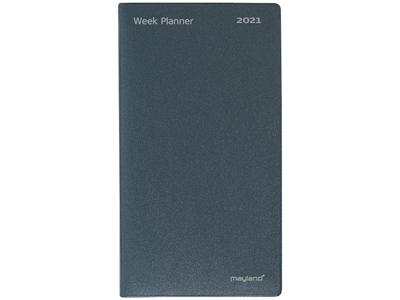 Index Planner, foldet månedskalender, mappe i vinyl, mørk gr