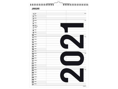 Familiekalender, Black and white, 2 kolonner, FSC Mix